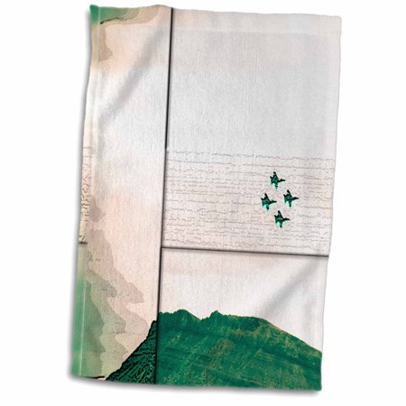 - 3dRose The Blue Angel Airplanes at an Air Show in Southern Utah in Hues of Green Beveled and Layered - Towel, 15 by 22-inch