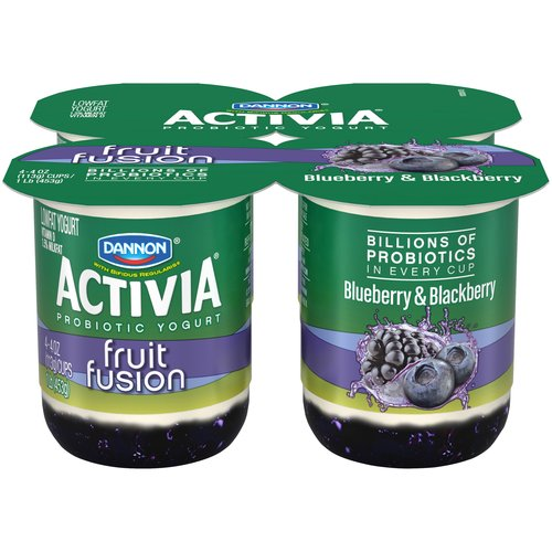 Activia Fruit Fusion Blueberry/Blackberry Lowfat Yogurt, 4 oz, 4 ct