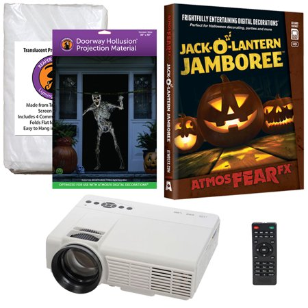 Halloween Projector Kit for Windows, Doors & Walls with Jack-O-Lantern Jamboree AtmosFEARFx DVD + 2 Screens (R/D) + Projector