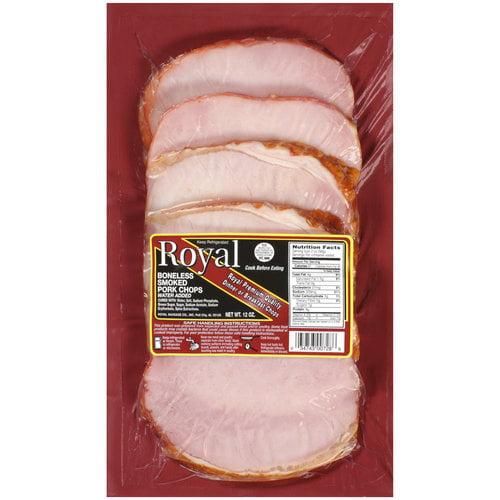 Royal Boneless Smoked Pork Chops, 12 oz