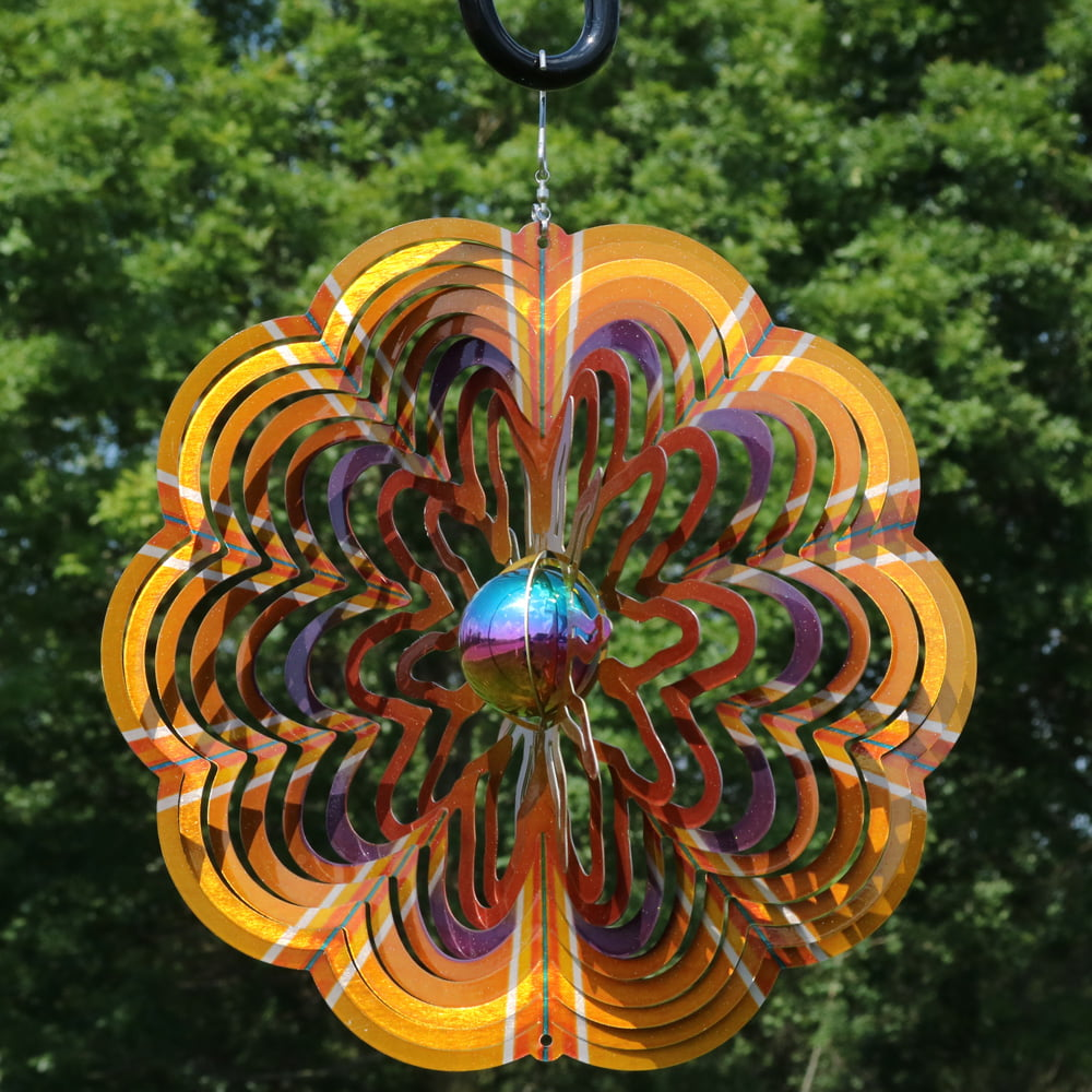 Sunnydaze Outdoor Garden Wind Spinner with Hanging Hook, 3D ...