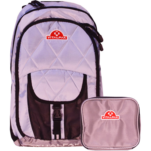 VitalPak Medical Backpack with Removable, Snap-In Essentials Kit, Light Grey