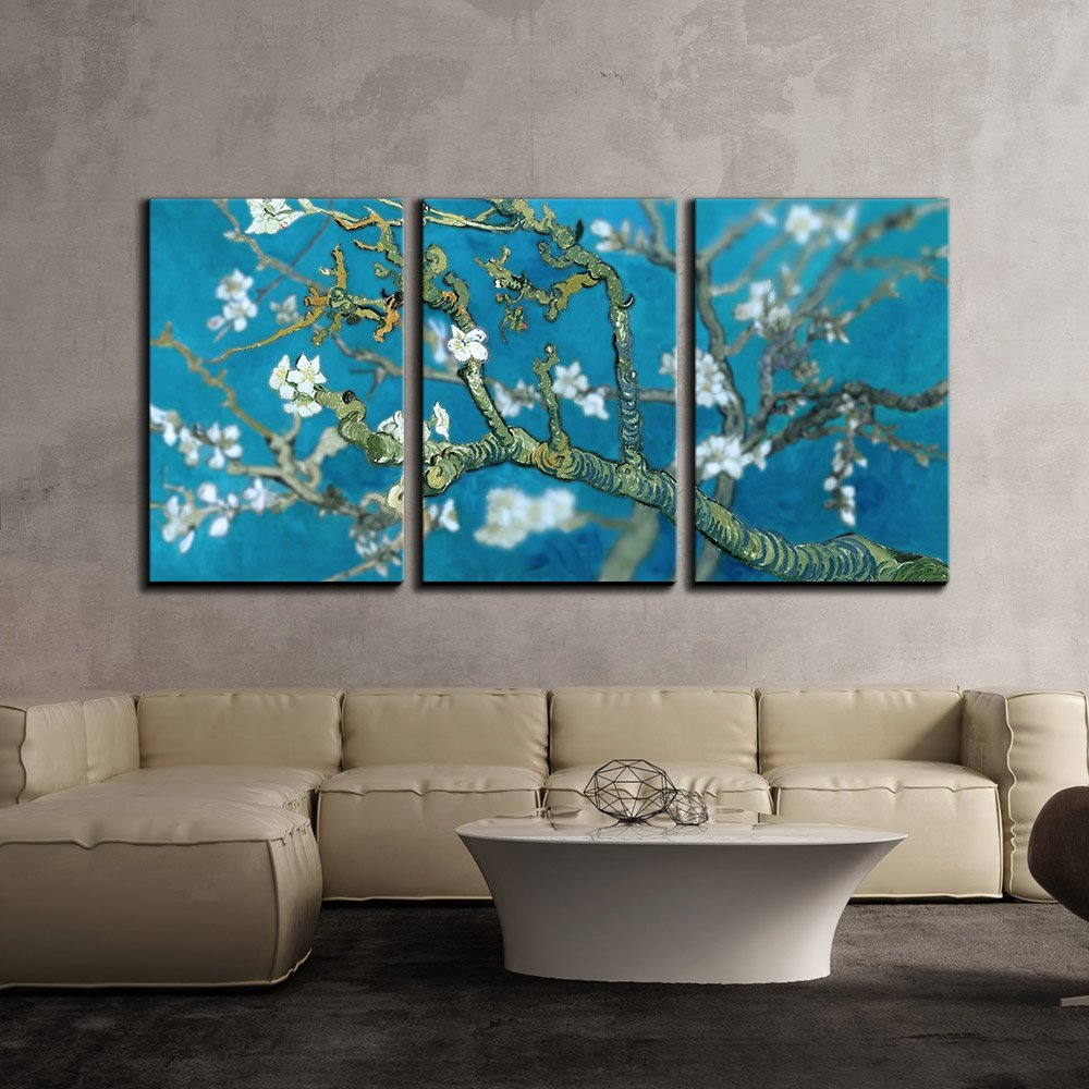 """wall26 3 Piece Canvas Wall Art - Van Gogh's Masterpiece Almond Blossoms Retouched - Modern Home Decor Stretched and Framed Ready to Hang - 16""""x24""""x3 Panels"""