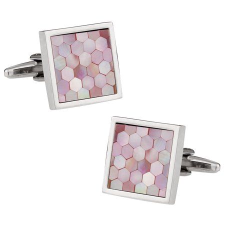 Pink Mother of Pearl Honeycomb Cufflinks Pink Plated Cufflinks