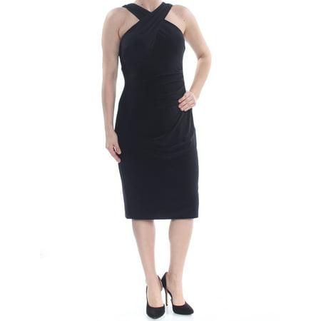 RALPH LAUREN Womens Black Zippered Darted Crisscross Straps Sleeveless Knee Length Sheath Evening Dress  Size: