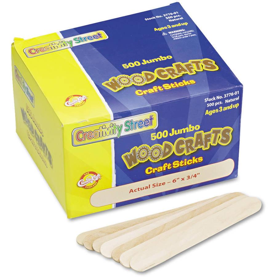 "Chenille Kraft Natural Wood Craft Sticks, Jumbo Size, 6"" x 3/4"", 500/Box"