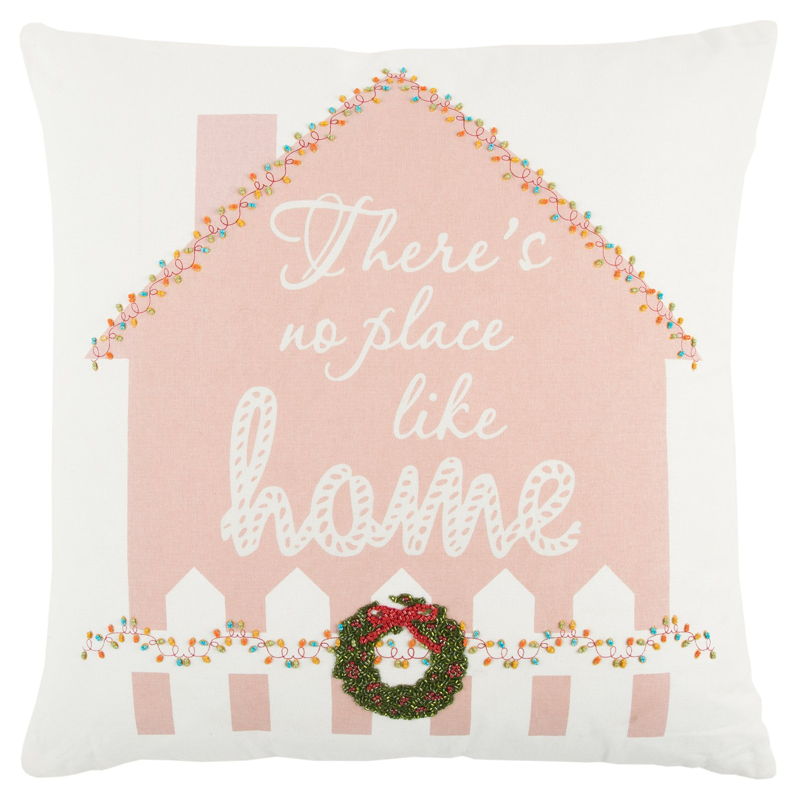 Rizzy Home Christmas Gingerbread House Decorative Pillow