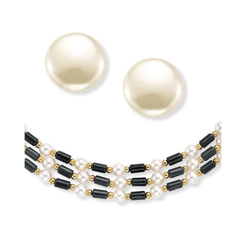 Palm Beach Jewelry Goldtone Simulated Cultured Pearl Jewelry Set