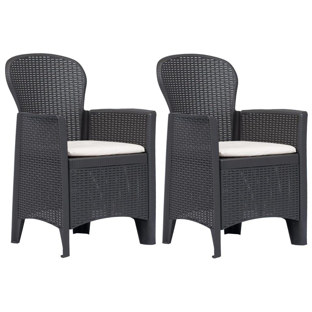 Mgaxyff Garden Chair 3 pcs with Cushion Brown Plastic Rattan Look -  Walmart.com