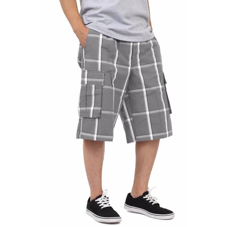 Shaka Wear Men's Relaxed Fit Plaid Cargo Shorts S~5XL - Mens Plaid Golf Shorts