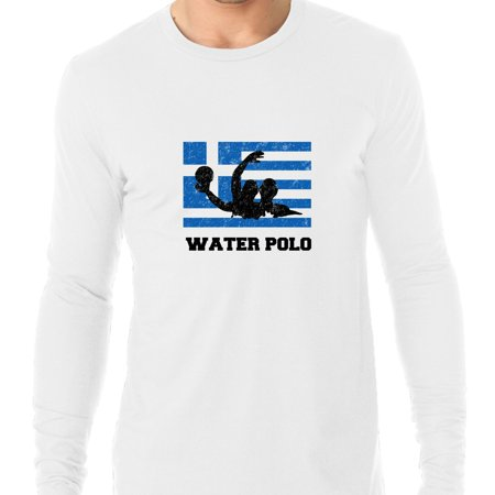 Greece Olympic - Water Polo - Flag - Silhouette Men's Long Sleeve T-Shirt