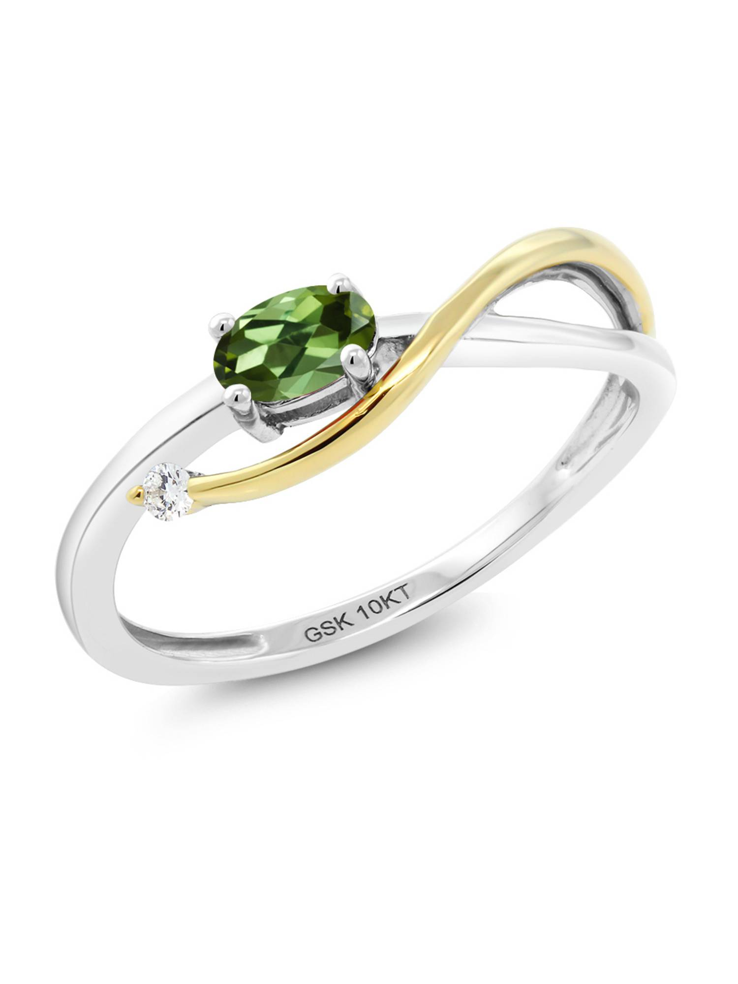 10K Two-Tone Gold 0.02 Ct Green Tourmaline and Diamond Engagement Ring by