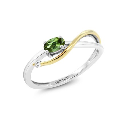 Green Diamond Engagement Ring (10K Two-Tone Gold 0.02 Ct Green Tourmaline and Diamond Engagement)