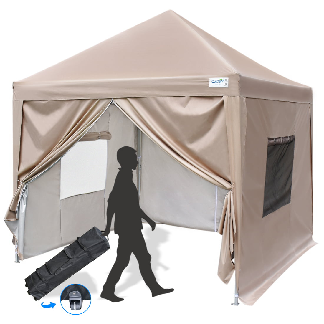 Quictent Silvox® 10x15/'EZ Pyramid-roofed Pop Up Canopy Gazebo Party Tent Beige