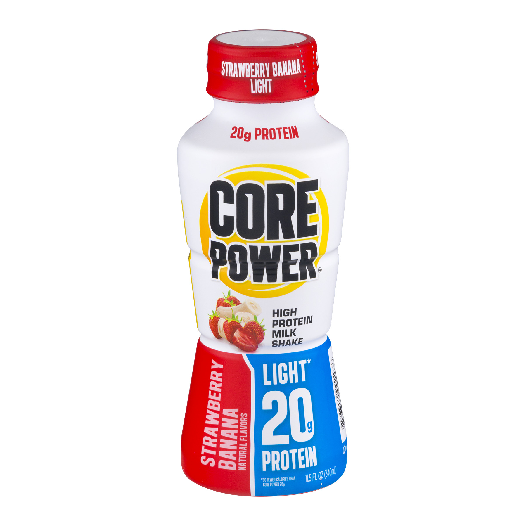 Core Power High Protein Milk Shake Light 20g Protein Strawberry Banana, 11.5 FL OZ