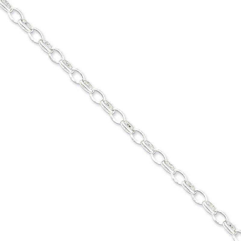 Sterling Silver 24in 5mm Fancy Rolo Necklace Chain