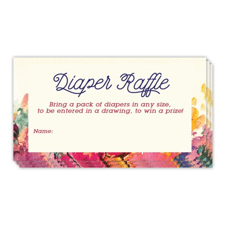 Diaper Raffle Tickets Baby Shower Game Invitation Inserts Blank Name Card to Enter Drawing Win Prizes Delicate Flowers Mommy to Be Newborn Infant Girl 48 Pack 3.5 x 2 Inches Digibuddha