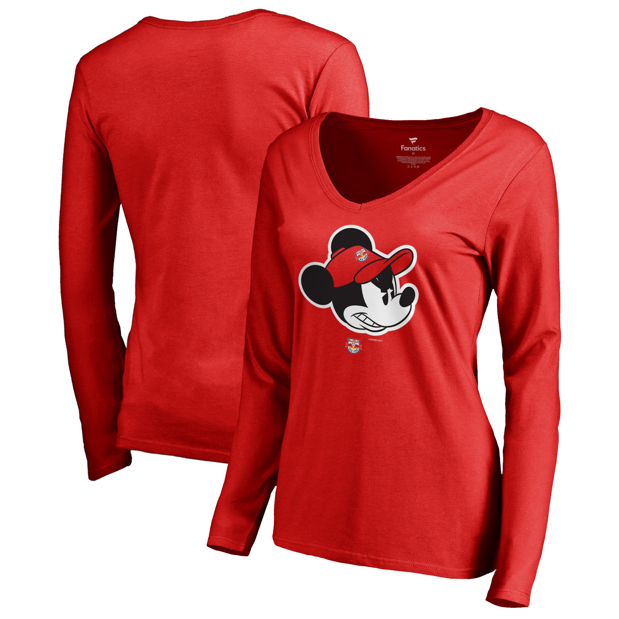 New York Red Bulls Fanatics Branded Women's Disney Game Face Long Sleeve V-Neck T-Shirt - Red