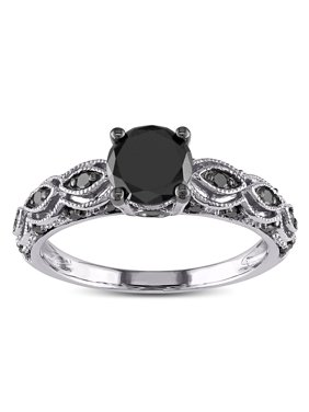 1.25 Carat Round Black Diamond Engagement Ring for Women in White Gold, Sale