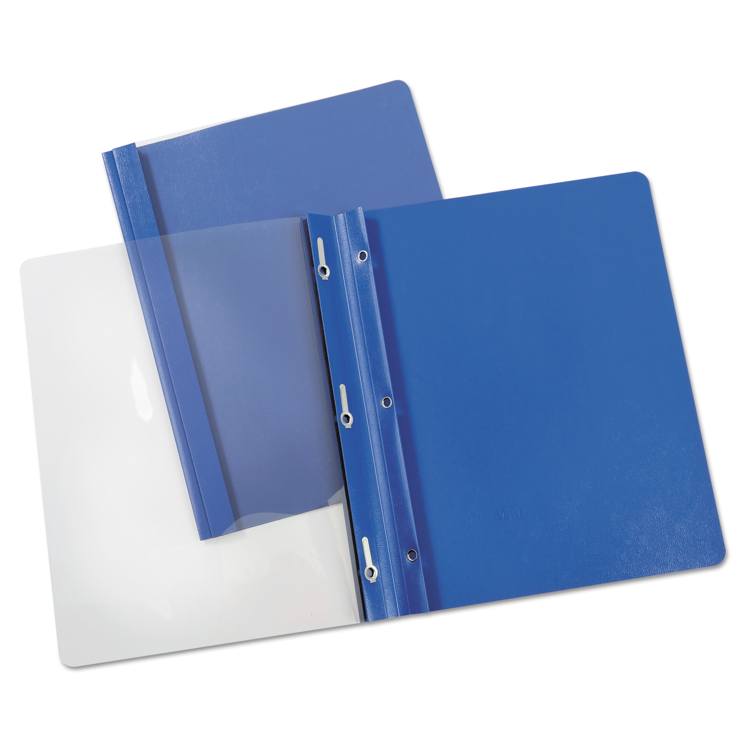 "Universal Report Cover, Tang Clip, Letter, 1 2"" Capacity, Clear Blue, 25 Box by Universal Office Products"
