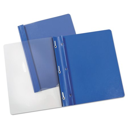Universal Report Cover  Tang Clip  Letter  1 2   Capacity  Clear Blue  25 Box