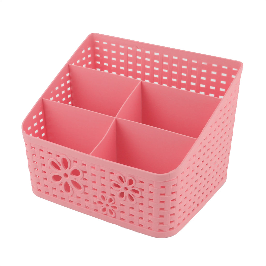 Office Table Desk Plastic 5 Slots Storage Box Organizer Container Pink