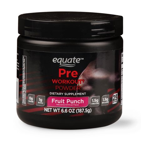 Equate Pre-Workout Powder, Fruit Punch, 6.6 Oz