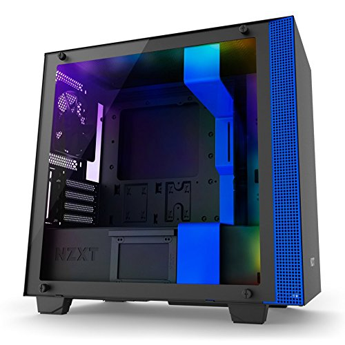 Nzxt CA-H200W-BL H200i No Power Supply Mini-itx Case W/ Lighting And Fan Control (matte Black/blue)