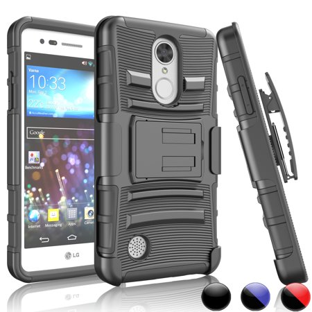 LG K8 2017 Case, LG Phoenix 3 Case,LG LV3 Cover,LG Aristo Hard Case, Njjex [Black] Shock Absorbing Impact Case with Built in Kickstand + Bonus Belt Clip For LG Fortune