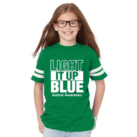 Light It Up Blue in White Autism Support Youth Unisex Football Fine Jersey Tee ()
