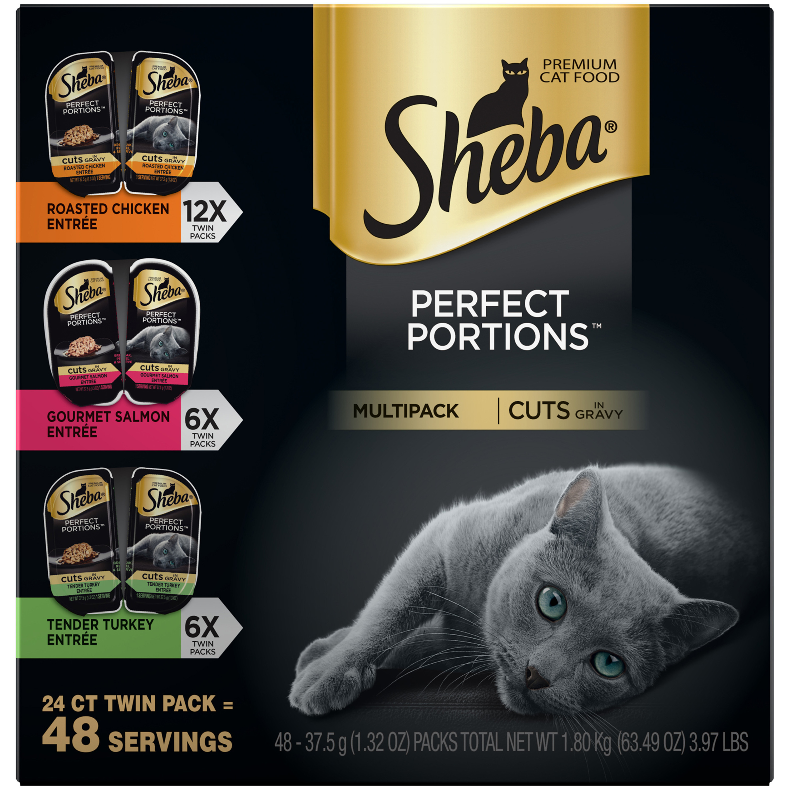 Sheba Perfect Portions Cuts In Gravy Multipack Roasted Chicken, Gourmet Salmon, Tender Turkey Grain Free Wet Cat Food 2.6 Ounces (24 Twin Packs)