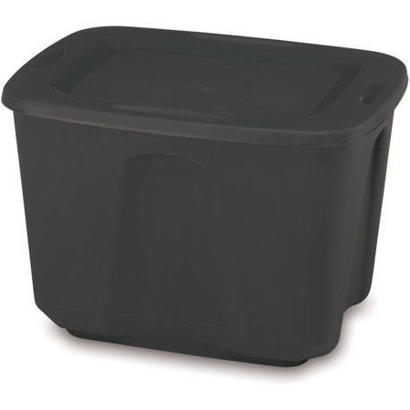Mainstays 18 Gal. Storage Containers, Black, Set of 8