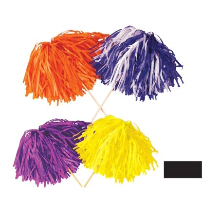 Club Pack of 144 Solid Black Pep Rally Tissue Shaker Pom Pom Accessories (Halloween Pep Rally Ideas)