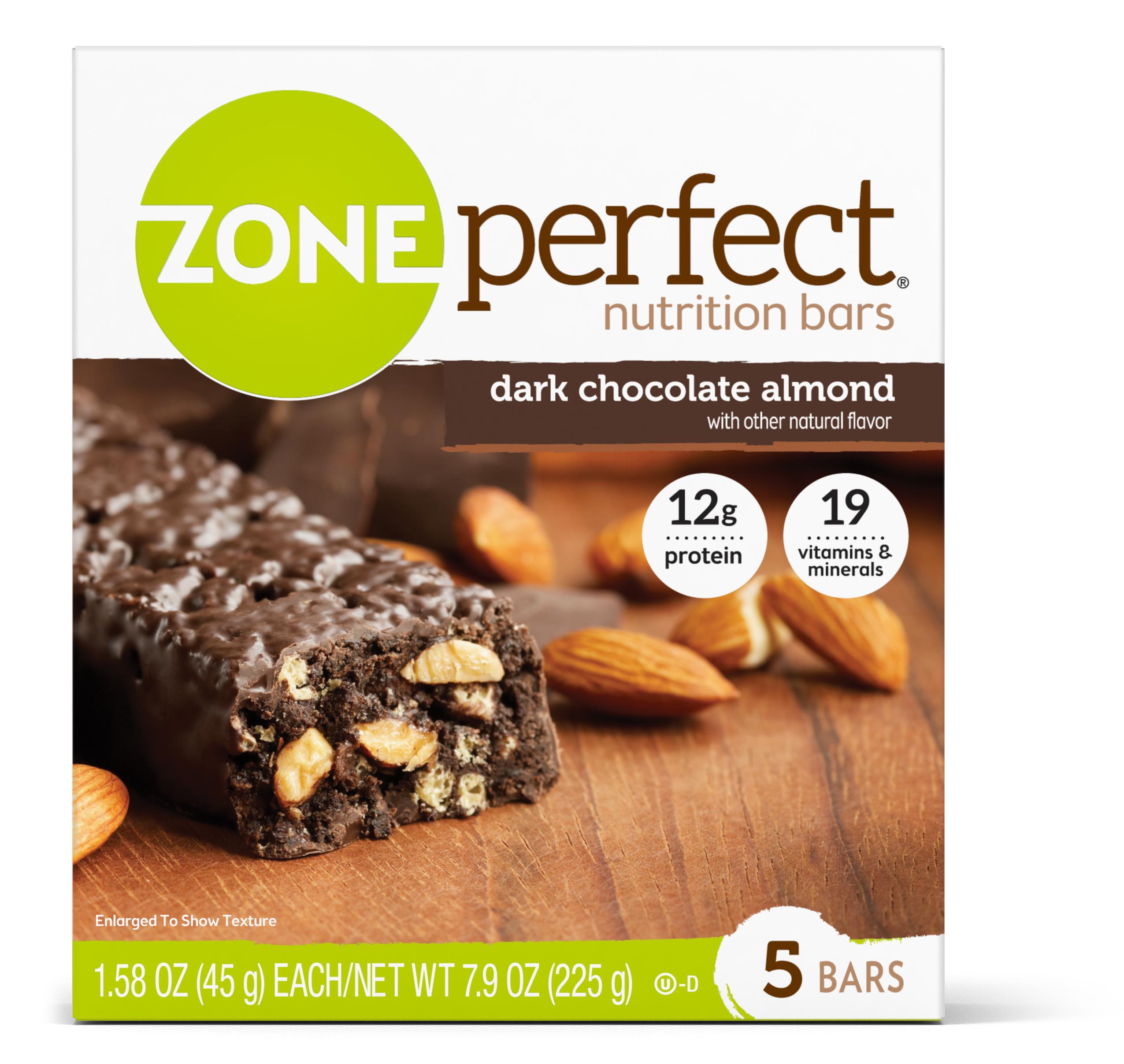 Zone Perfect Nutrition Snack Bar, Dark Chocolate Almond, 12g Protein, 5 Ct