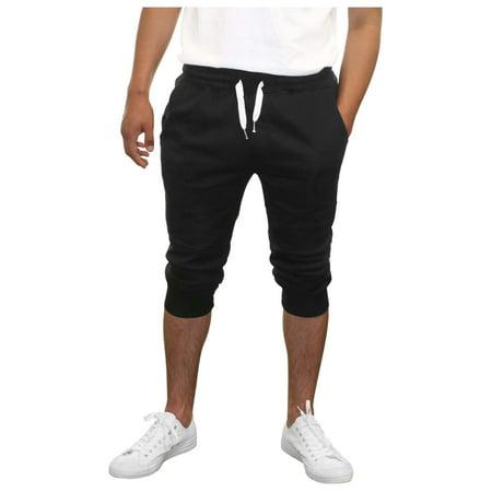 - True Rock Men's Textured Panel Capri Pants Joggers