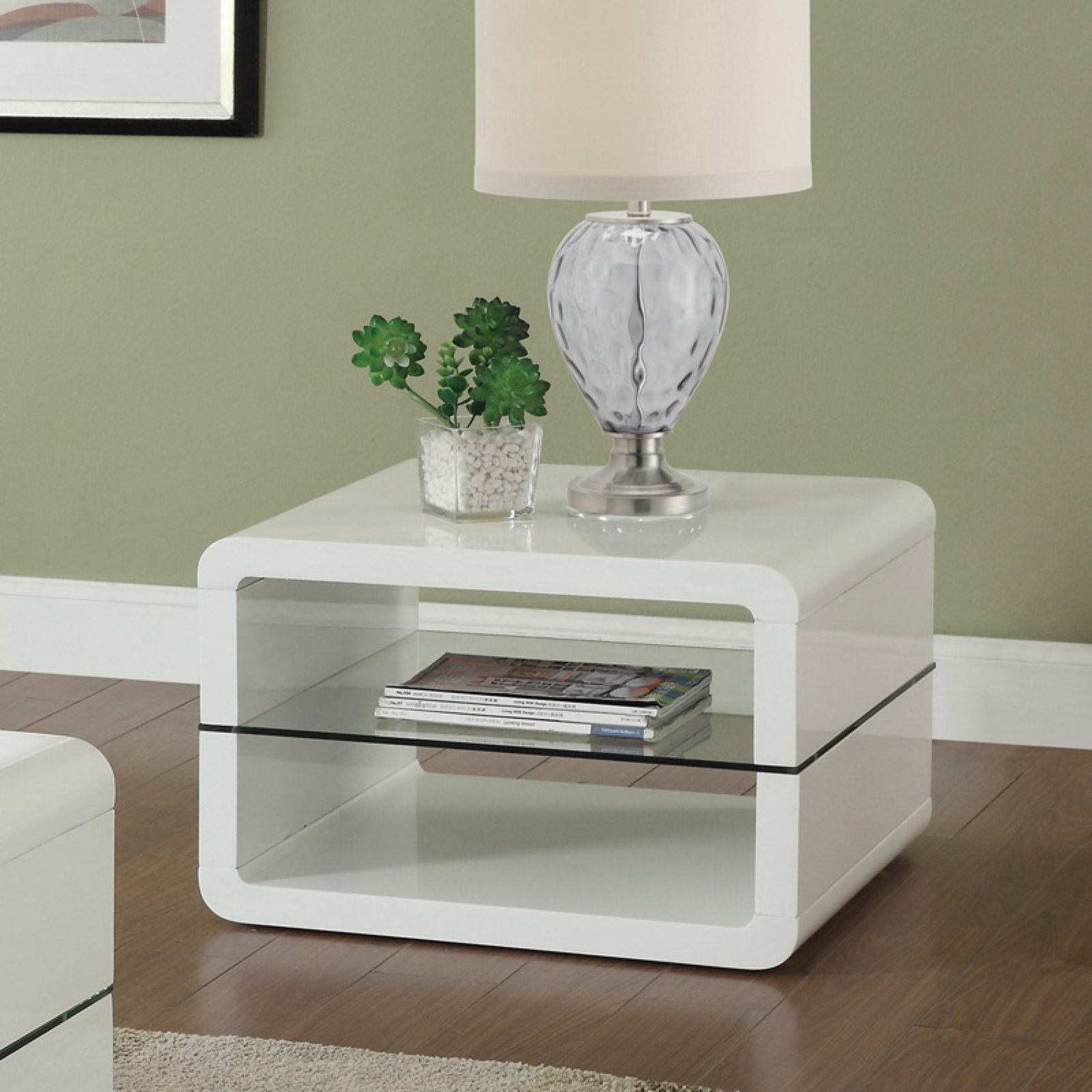 Coaster Modern Contemporary End table, Glossy White Finish