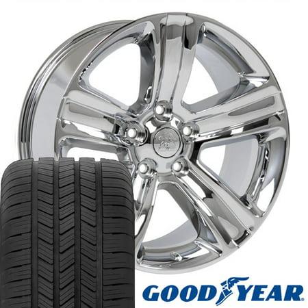 20x9 Wheels & Tires Fits Dodge, RAM Trucks - RAM 1500 Style Chrome Rims, Hollander 2453 w/Goodyear Tires ()