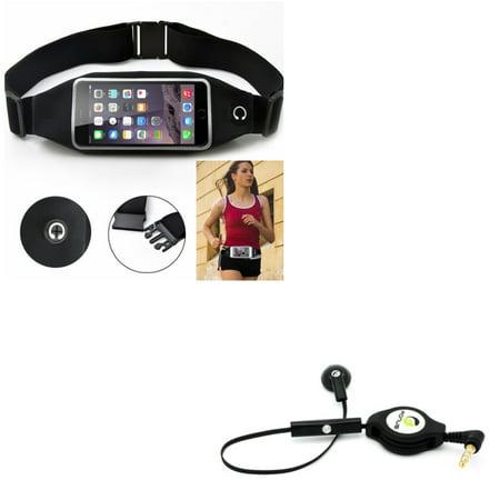 Black Sports Running Workout Waist Bag Belt Case w Retractable Headset MONO Handsfree Earphone Mic G9J for HTC Desire 612 555 530 526 516 512 510 - Huawei SnapTo, Pronto, Raven, P9 P10