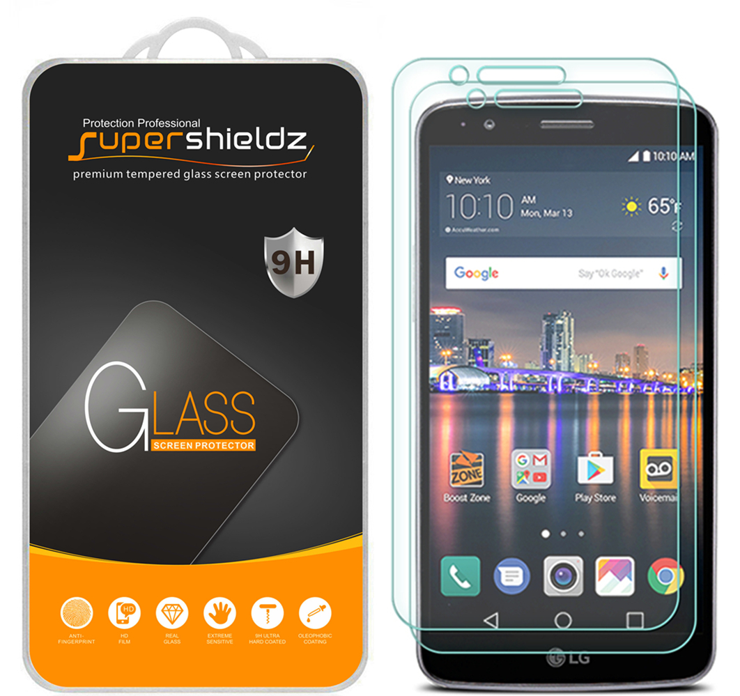 [2-Pack] Supershieldz LG Stylo 3 Plus Tempered Glass Screen Protector, Anti-Scratch, Anti-Fingerprint, Bubble Free