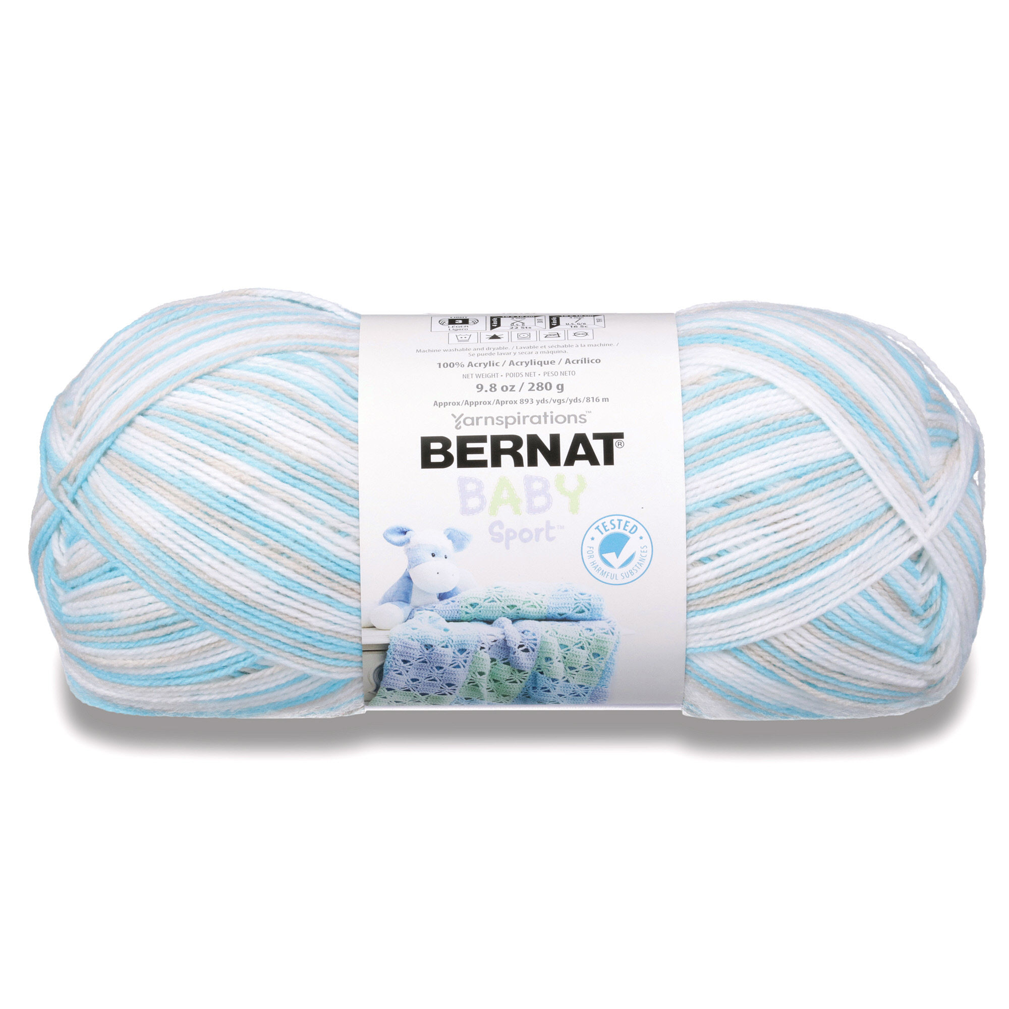 BERNAT BABY SPORT OMBRES YARN (280G/9.8 OZ), POPSICLE BLUE OMBRE