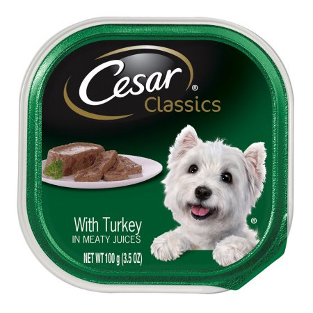 (24 Pack) CESAR CANINE CUISINE Wet Dog Food with Turkey, 3.5 oz. Tray