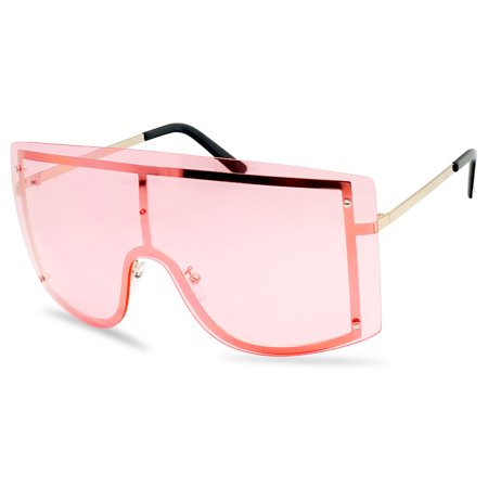 XL Oversized Rimless Full Shield 155mm Colored Transparent Lens Sunglasses for (Just Lenses)