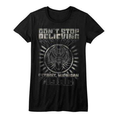 Journey Music Detroit Juniors Short Sleeve T Shirt (Bleu Detroit Halloween)