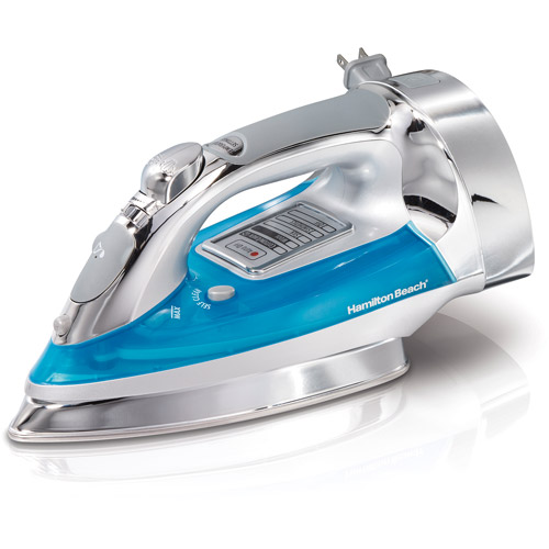 Hamilton Beach Chrome Electronic Iron with Retractable Cord