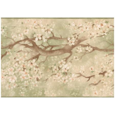 Prepasted Wallpaper Border - Distressed Sakura Cherry Bloom Green Wall Border Retro Design, Roll 15 ft. x 7 in.