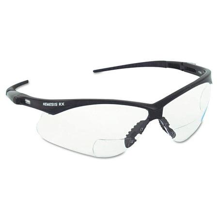 Jackson Safety* V60 Nemesis Rx Reader Safety Glasses, Black Frame, Smoke (Rx Prescription Safety Glasses)