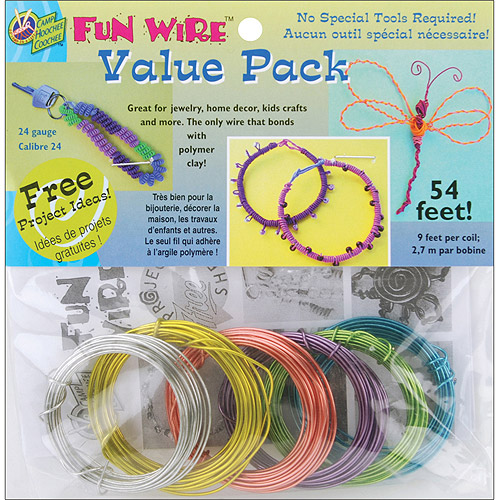 Plastic Coated Fun Wire Value Pack 9 Foot Coils, 24 Gauge Translucent , 6 per package