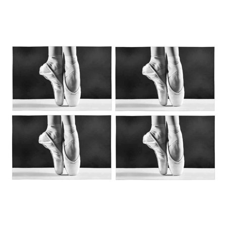 MKHERT Elegant Ballet Shoes Ballerina's Pointes Placemats Table Mats for Dining Room Kitchen Table Decoration 12x18 inch,Set of 4 ()