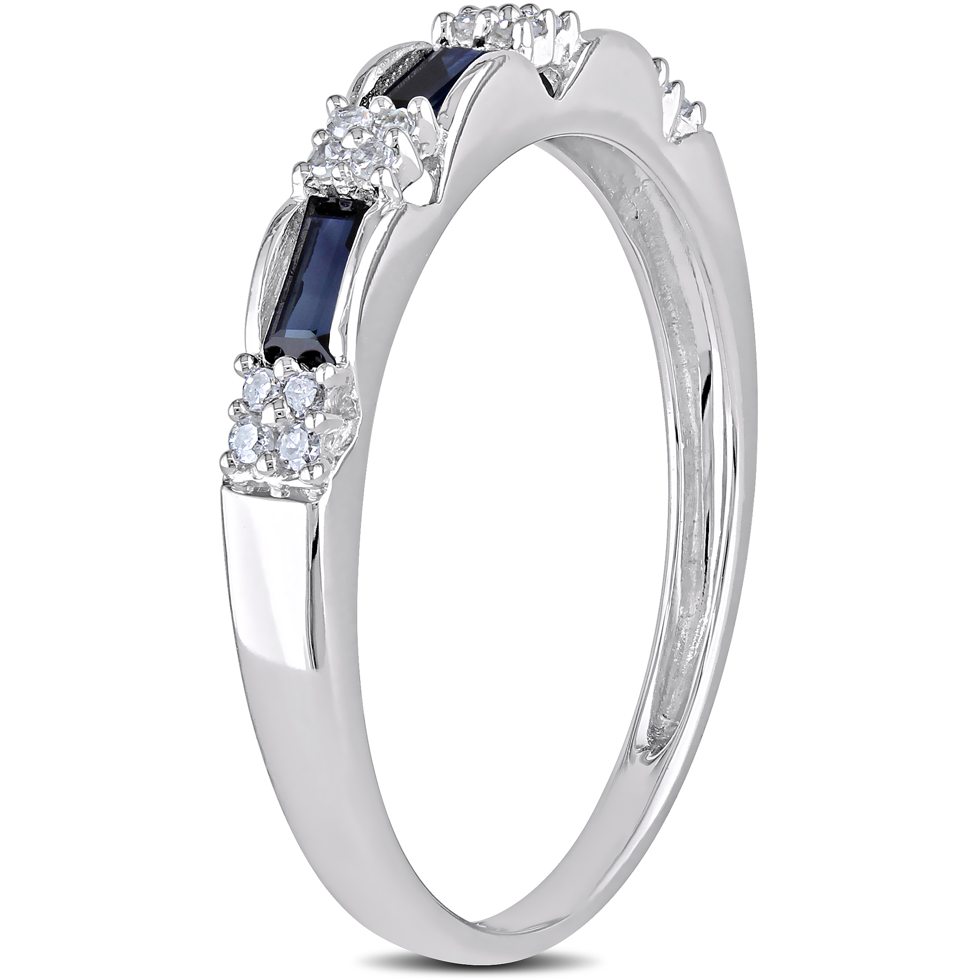 1 2 Carat T.G.W. Baguette-Cut Sapphire and Diamond-Accent 10kt White Gold Semi-Eternity Ring by