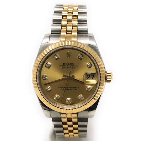 Rolex Datejust 178273 Champagne Diamond dial and an 18kt Yellow Gold Fluted Bezel (Certified Pre-Owned) Diamond Dial Fluted Bezel